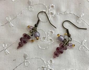 Grapes Purple Lampwork Glass Dangle Earrings Doodaba