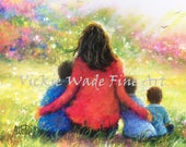 Mother Three Sons Art Print, three boys, three brothers, mom, garden, gift for mom, mother and three sons in garden wall art,Vickie Wade Art