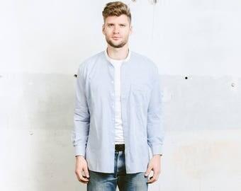 White and Blue Striped Collarless Shirt . Band Colar Shirt Peasant Farmer Shirt Work Shirt Minimalist 80s Shirt . size Large