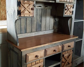 barn doors cabinet / rustic farmhouse furniture / kitchen cabinet hutch / buffet / stepback cabinet/ country furniture / hutch / side board