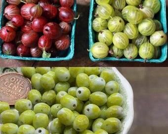 15 chartreuse glass Beads, Czech Beads , oval beads, Gooseberry Beads, green Beads, Gooseberries, beading Supplies, Farmers Market,#B140B