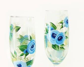 Set of 4 Hand-Painted Cabbage Rose Champagne Flutes - Blue Watercolor Roses - Personalized Wedding Party Gifts