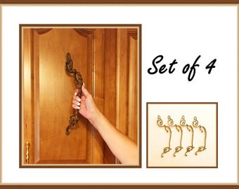 Ornate Door Pull Handles, Large Size, Brass, Bronze, Set of Four, 13 inches Long, Mid Century