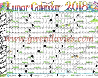 Downloadable Lunar moon calendar 2018 - A4 downloadable Pagan Wiccan Astronomy astrology wall chart