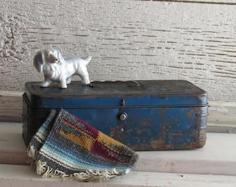 Vintage metal box - royal blue - tool box - home decor