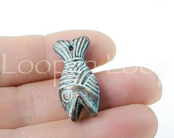 25%OFF Mykonos Fish Pendant Green Patina 5mm Nautical cord end Greek Casting Metal Connector Charm DIY Native Indian Tribal bracelet clasp