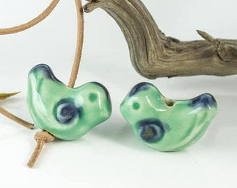 25%OFF Large 1 inch Bird bead Mint Green Ceramic blue birdie Focal handmade Glazed Greek Beads woodland Pendant blueroompottery Bead 25X20mm