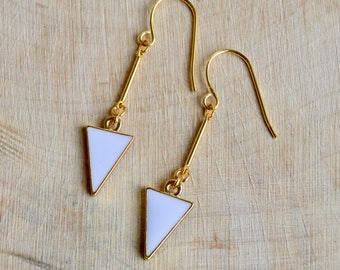 White and Gold Geometric Dangle Earrings