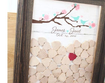 Wedding guestbook  Drop Box  rustic cherry blossom  Wedding Guest book  top Drop box alternative guest book  Frame and hearts book 100 guest