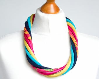Statement necklace, colorful statement necklace, recycled necklace, COLORFUL jewelry, textile necklace, rainbow necklace, multi strand