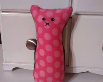 Pocket critter, FREE U.S. shipping,  pink, black, dots, argyle, cashmere, wool, recycled,  tooth fairy pillow, animal pillow, kids pillow