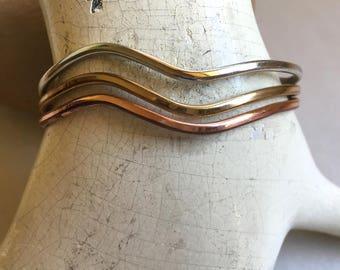 Vintage Sergio Lub Tri-Metal Wave Bracelet