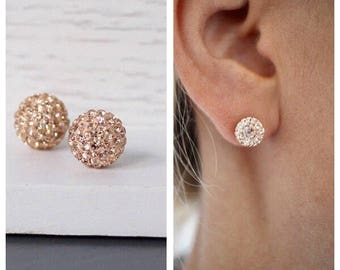 Sterling silver Rose gold Pave Studs,Sterling silver stud earrings, Sterling silver crystal studs, crystal studs, Pave stud earrings, Pave