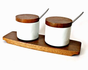 Mid Century Condiment Holder Set,  Wood Glass Condiment Holders on Tray, Condiment Jars on Tray, Dolphin Philippines Condiment Tray and Jars