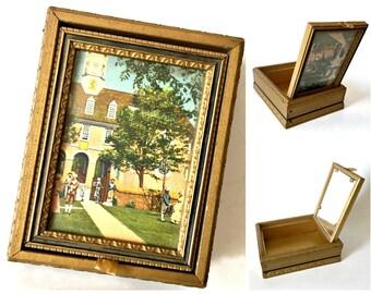 Vintage Trinket Box, Williamsburg Virginia Wooden Box, Hinged Wooden Box, Hinged Box with Mirror, Williamsburg Art Box, Vintage Souvenir Box
