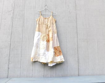 Upcycled, Boho, Bohemian, Gypsy, Cotton Dress, Fitted Tunic, Patchwork, Statement Dress, Festival, Beige, Summer, Creme Brulee, Tank