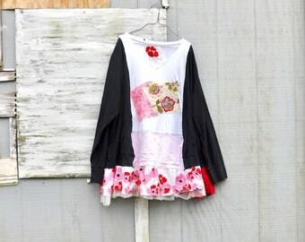Floral Tunic, Upcycled Plus Dress, Shabby, Recycled Shirt, Repurposed Clothing, Casual Tunic, Winter Shirt, Sustainable Clothing, CreoleSha