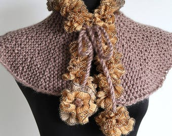 Light Taupe Beige Color Knitted Capelet Ruffled Cowl Turtleneck Collar with Flower Pom Poms Ties