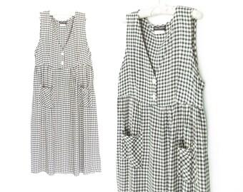 Vintage Picnic Dress * Oversized Jumper Dress * 90s Dress * Apron Dress * Medium / Large
