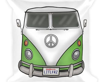 Volkswagen Lover Gift - Green VW Camper Van Throw Pillow - Classic Car Gift - Hippie Bus Couch Pillow - VW Bedding - Classic Car Home Decor