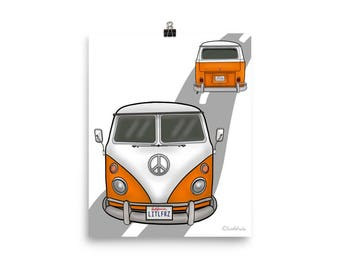 VW Bus Poster - VW Camper Van Art Print 8x10 - Volkswagen Wall Art - Car Home Decor - Gift Idea for Auto Lovers - Personalized Car Gift Idea