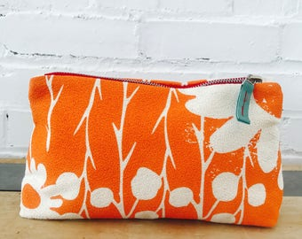 Orange Daisy Thorn makeup zipper bag, Ready To Ship Now