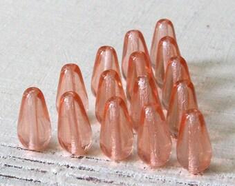 Long Drill Glass Teardrop Beads - Jewelry Making Supply - Czech Glass Beads - 13x6mm (20 Beads)  Rosaline