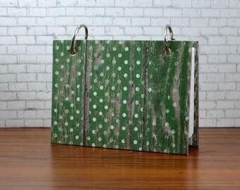 3 x 5 index card binder with a laminated hard cover, kelly green weathered barn wood, recipe card binder or writing journal