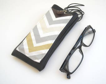 Geometric arrows, neck eyeglass case with pocket, brown faux leather vinyl glasses holder, reading eyewear case, neck cell phone case