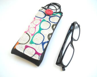 Hipster eyewear case with neck lanyard and pocket, spectacles faux leather holder, multicolor eyeglass cover, reading glasses case