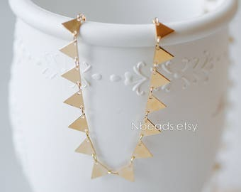 Gold plated Brass Triangle Chains 8mm, Handmade Cable Link Geometric Chain, Lead Nickel Free (#GB-144)/ 1 Meter=3.3 ft