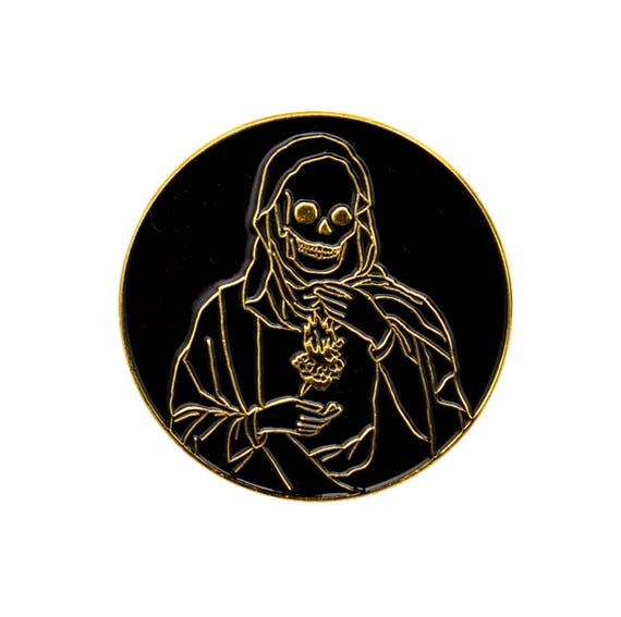 Holy Reaper Skull Pin. Sacred Heart Skeleton Enamel Pin. Black and Gold Death Lapel Pin.
