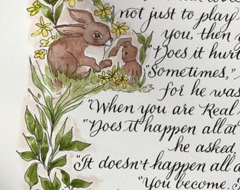 Velveteen rabbit/becoming real/print of original/copy of Hnad done/11 x 17/laser printed