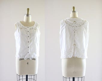 embroidered cutwork blouse / m-l
