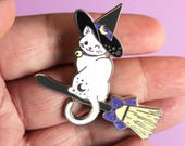 Sweet Witch Kitty on a Broom - Hard Enamel Pin