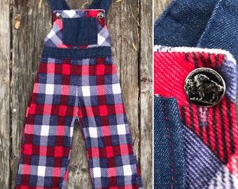 Vintage 70s plaid corduroy toddler  overalls / red white blue Americana / buffalo nickel buttons / hippie toddler size  2T