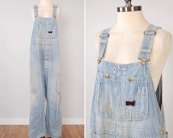 Vintage 60s Big Smith distressed and faded engineer stripe overalls / oversized slouchy / Union Made Sanforized / XL 44 waist x 28 inseam