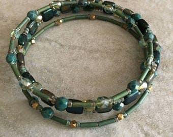 Memory Wire Bangle Bracelet, set of 3, Beaded Memory Wire Bracelet, Czech Beaded Bracelet, Bangle Bracelet