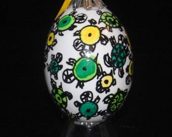 Hand decorated Blown Egg Ornament (Turtles)