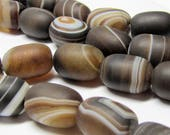 Agate Beads 14 X 10mm Natural Smooth Matte Marbled Chocolate Agate Smooth Rounded Tube Beads - 12 Pieces