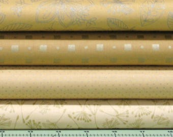 Gold Blender Fabrics with Lightly Metallic Accents 100% Cotton Quilt Fabric Bundle for Sale, Pearl Essence Collection by Maywood Studios