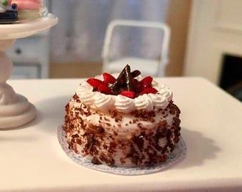 LD SALE Miniature Cake, Cake with Strawberries and Whip Cream, Style 3614, Dollhouse Miniature, 1:12 Scale, Miniature Food, Mini Cake