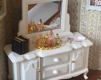 SALE Miniature White Wood Dresser with Mirror, Dollhouse 1:12 Scale Miniature, Dollhouse Furniture, Bedroom Dresser, Wood Dresser With Drawe