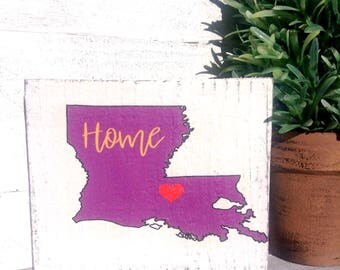 Rustic Home Sign- Home State of Louisiana Size is 5 1/2 wide X 4 1/2 length 1 in thick