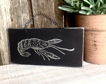 CAJUN crawfish - put a little CAJUN in your kitchen  - Wood ready to hang with wire.