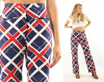 Vintage 70s High Waisted Pants Red White Blue Plaid Trousers Flared Jeans Hippie Boho Festival 1970s Small S Bell Bottoms