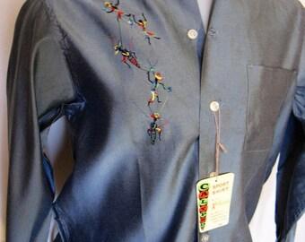 Men's Vintage 1950s Bud Berma Calypso Sport Embroidered Shirt, Medium