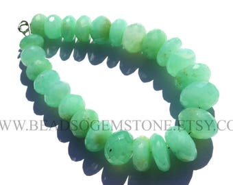 Quality AA Big Size Chrysoprase Beads Rondelle Faceted Shape, (10 to 14.5), CHR-012, Semiprecious Stone, Craft Supplies For Jewelry Making