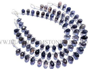 Gemstone Beads, Iolite Faceted Drops (Quality AA) / 6x8.5 to 7x10.5 mm / 18 cm / IO-041