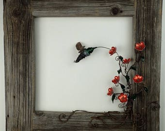 Hummingbird With Orange Flowers Re Purposed Art in Barn Wood Frame